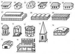 Чертежи на покрива, общ преглед на конструкциите, монтажни схеми и устройство