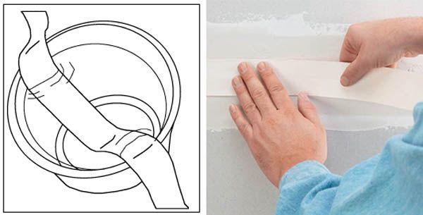 Как да запечатате шевове върху гипсокартон с хартия и подсилваща лента