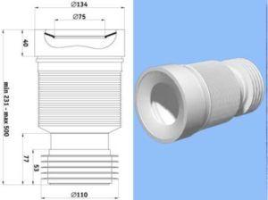 Основните размери на гофрата за свързване на тоалетната чиния, накрайници за монтаж