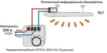 Схема за свързване на инфрачервен нагревател към терморегулатор.